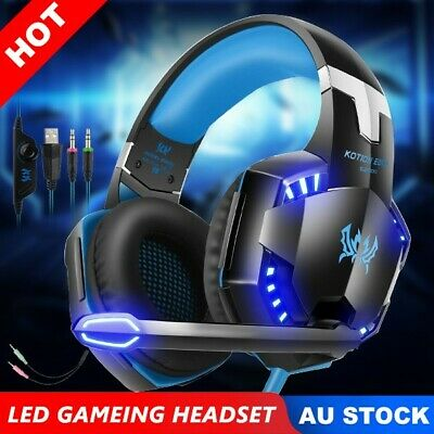 Gaming Headset EACH 3.5mm MIC LED Headphones for PC Laptop 360 PS4 Xbox One