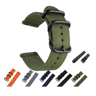 Quick Release Military Woven Nylon Canvas Fabric Watch Band Strap Buckle 20 22mm