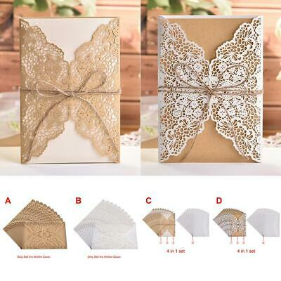 10pcs Floral Lace Laser Cut Wedding Invitation Card Party Blank Envelopes