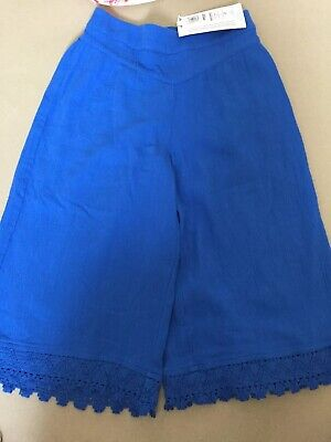 BNWT 4-5 Years M&S Wide Leg Cropped Blue Trousers Cullottes Boho Folk Festival