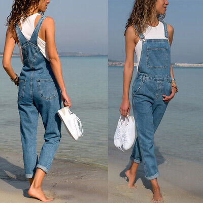 c79eed5b3 Women Baggy Denim Jeans Full Length Pinafore Dungaree Overall Jumpsuit Plus  Size