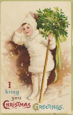 ANTIQUE VINTAGE HAND TINTED POSTCARD Christmas Greetings Card 1911 with Stamp