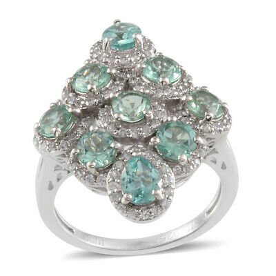 Cluster Ring Silver Platinum Plated Emerald Green Apatite Zircon Size 7 Cttw 4.7