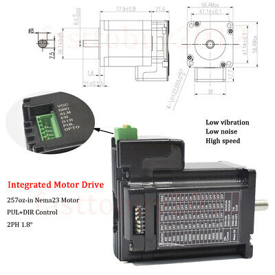 157oz-in 1.1NMIntegrated Stepper Motor Nema23 3A Driver PUL+DIR for CNC Router