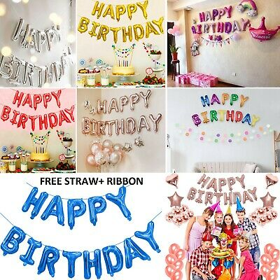 LARGE Happy Birthday Balloon Banner Bunting Self Inflating Letters Balloon Party