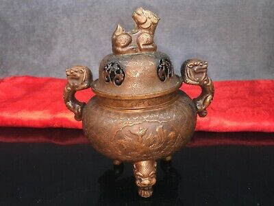 22.5cm Stunning Antique Tibetan Bronze Pierced Incense Burner