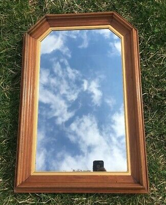 """Old Mirror With Arch and Wood Frame Wood Backed 16"""" x 24"""" Unique Gold Trim"""