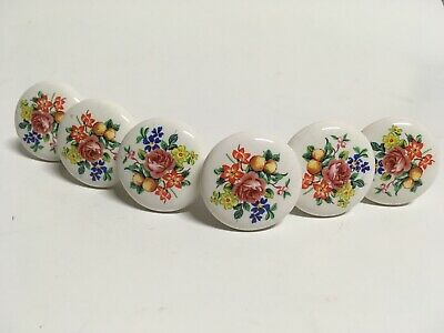 6 White Porcelain Ceramic Round Floral Drawer Knobs Pulls Old Vintage Pretty Set