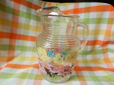 Vintage 50'S Hazel Atlas Glass Pitcher With Ice Lip - Pink And Yellow Flowers