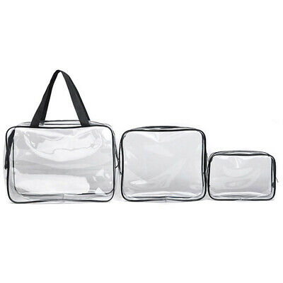 3Pcs Toiletry Bag Make Up 3 Sizes Clear Cosmetic Waterproof w/ Zips Wash Bag