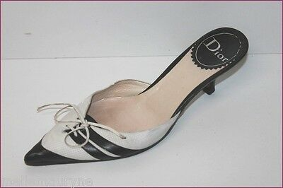 Dior Court Shoes Sharp/Pointed Vintage all Leather Black and White T 37.5 Be