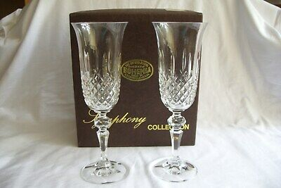 Pair of Vintage Bohemia Fine Cut Lead Crystal Glass Flutes.