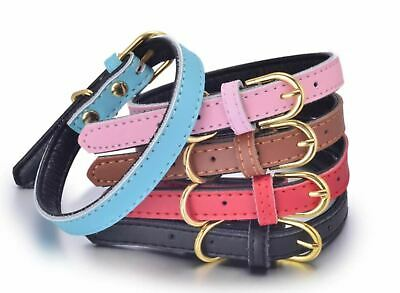 Dog Cat Leather Collar Adjustable Puppy Adult Black Red Pink Brown Blue DC6