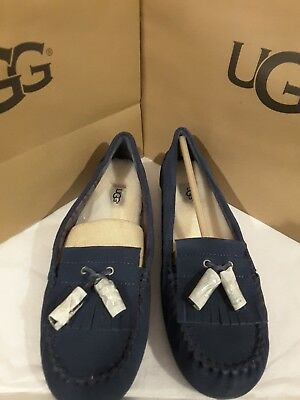 afc4041354e UGG WOMEN'S LIZZY Tassel Shearling Slippers Navy Suede 7 NEW IN BOX ...