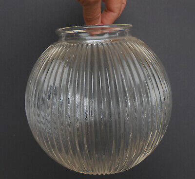 "Vintage Ribbed Industrial Clear Glass Ball Globe Lamp Shade 6"" Diameter"