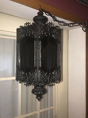 "OLD GOTHIC PENDANT LAMP 6 Sided HEAVY HANGING SMOKED GLASS "" RARE"""