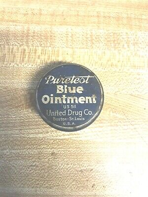 Vintage Advertising Tin Round Puretest Blue Ointment United Drug Company Benton
