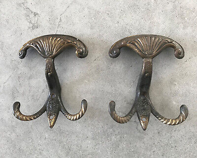 HOOKS PAIR Gorgeous Old Vintage Solid Brass Ornate COAT HAT HOOKS