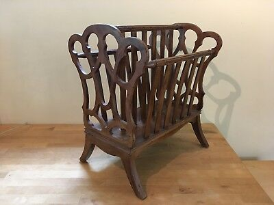 Antique Vintage Wood Magazine Book Record Rack Stand Holder Spindles Cut Outs
