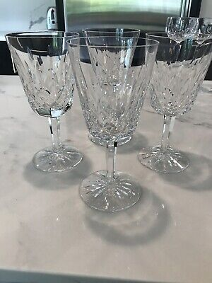 "4 Waterford Crystal 6 7/8"" Lismore Water Goblets Stemware Wine Excellent"