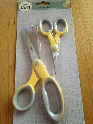 Yellow Scissor Set 1 Large and 1 Small Scissors Soft Grip Handles Craft / Sewing