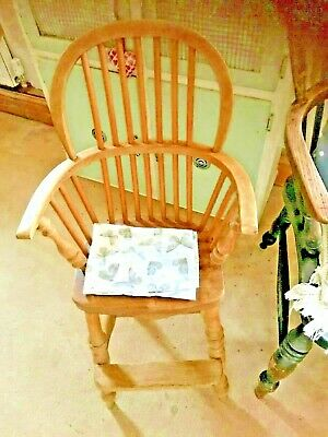 """Lovely, Vintage, Antique, Childs, Beech and Elm, Windsor, Bow Back, High Chair"""