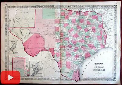 Texas 1864 Johnson & Ward large map original hand color detailed w/ insets