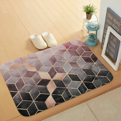 Door Rug Carpet Floor Bathroom Geometric Flannel Bedroom Mat Machine Washable