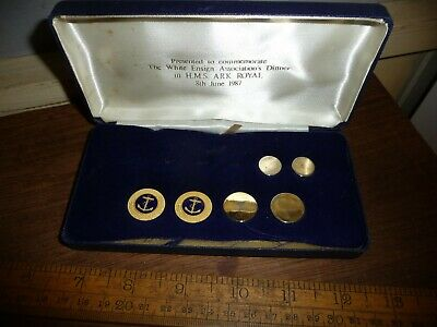 Royal Navy Officers Gilt / Enamel dress buttons - presented HMS Ark Royal 1987