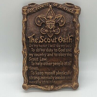 Vintage The Scout Oath Hanging Plaque Syroco Wood Boy Scouts of America Rustic