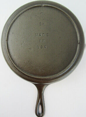 Vintage 8 SK Cast Iron Skillet Frying Pan w/ Heat Ring