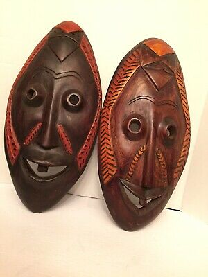 vintage African style Tribal Wooden hand Carved Face Masks round hollow eyes