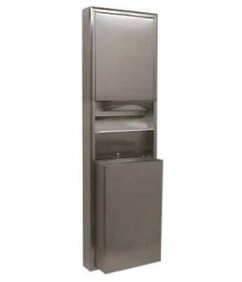 New Bobrick Classic B3949 Paper and Waste Bin Unit 45L Surface Mount - Silver