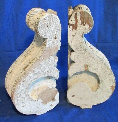 Pair Antique Salvaged 1862 Wood CORBELS ~ Architectural