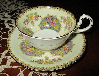 AYNSLEY Bone China TEA CUP & SAUCER SET Yellow Pink Green  MINT  MADE IN ENGLAND