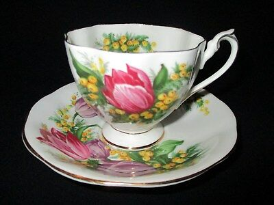 QUEEN ANNE Bone China TEA CUP & SAUCER SET Tulip Time PURPLE YELLOW ENGLAND