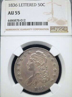 1836 50C Lettered Capped Bust Half Dollar NGC AU 55 ~ LUSTROUS!