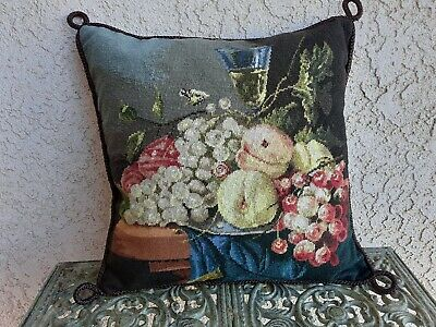 Excellent Wool Petit Needlepoint Fruit Still Life Pillow Cover Chair Inzonedesignstudio Interior Chair Design Inzonedesignstudiocom