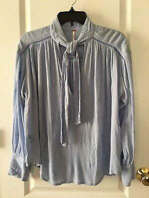 fb8f91a1c0dcba NWT Free People Wishful Moments Blouse Tie Neck Boho Top In Blue Gemst XS  $108