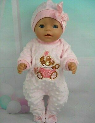 "Dolls clothes for 17"" Baby Born doll~ PINK BALLERINA BEAR BOBBLE JUMPSUIT~HAT"