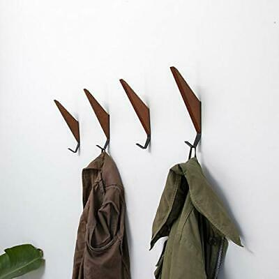 Mid-Century Coat Hooks Modern Teak Wood Wall 2 Set Home Storage Office Products