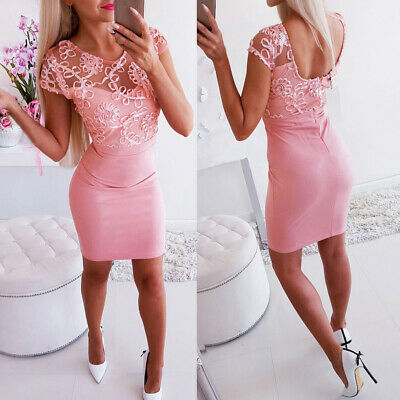 Fashion Women Bodycon Slim Mini Dress Sexy Backless Patchwork Party Pencil Dress