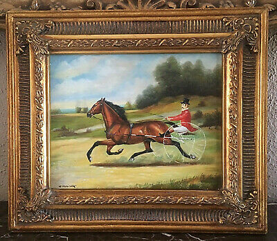Antique Style Oil Painting Old English Carriage Horse Rider Landscape Scene Art