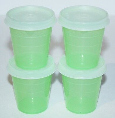 Tupperware Midgets Set of 4 Containers 2 oz. Green & Sheer Little Tupper Minis