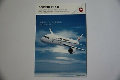 Japan Airlines Postcard Boeing 787-8  Airplane Collectible Post Card New