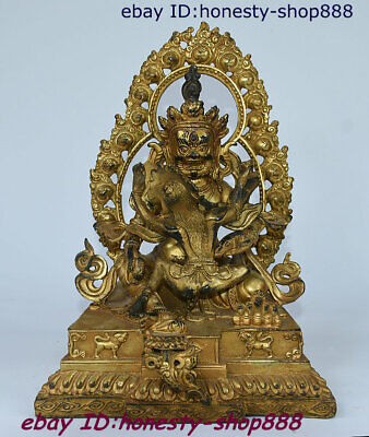 Old Tibetan Bronze Gilt Buddhist heavenly dharmaLion Zambala Vaishravana Statue