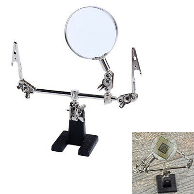 5X Third Hand Soldering Iron Stand Helping Clamp Vise Clip Magnifying Glass MO