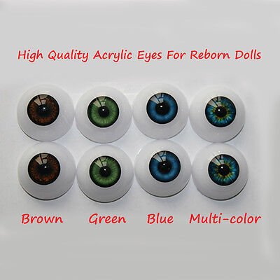 4 Pairs 20mm Acrylic Eyes for Reborn Doll Kit BJD Dollfile Luts Ball Joint Dolls