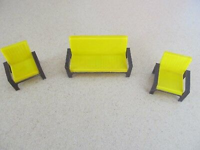 Vintage dollhouse doll house furniture couch sofa chairs yellow brown  MCM mid