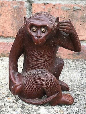 Antique Japanese Hand Carved Wood Monkey Eyes Okimono Sculpture Figurine 2 of 2